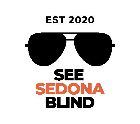 See Sedona Blind Logo. Logo has a pair of aviator sunglasses and text.