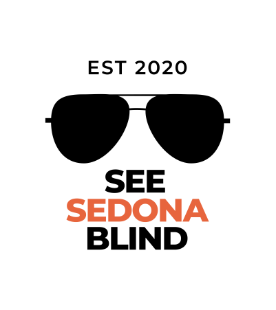 See Sedona Blind Text Logo that also features a pair of aviator sunglasses