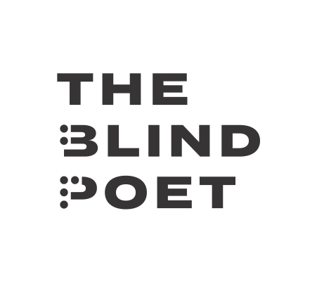 The Blind Poet text logo. Logo includes a braille letter B and a braille letter P.